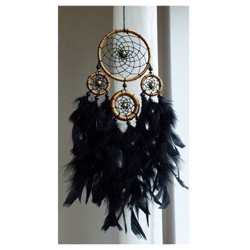 Dreamcatcher, Boho Dreamcatcher, Gold Dreamcatcher, Black Dreamcatcher, Boho Wall Hanging, Gypsy, Bohemian, Hippie