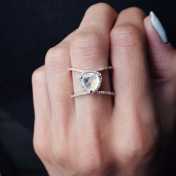 14kt rose gold and diamond Double Band Petite Triangle Moonstone ring – Luna Skye by Samantha Conn