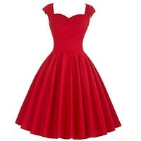 Sisyly Women Summer Sleeveless Rockabilly Dress