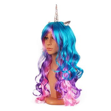 Unicorn Wigs - Assortment of Unicorn Wigs with Long Hair, ears and Unicorn Horn