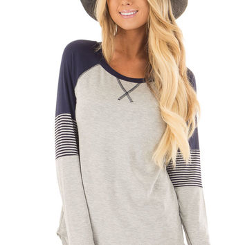 Heather Grey Long Sleeve Top with Navy Contrast