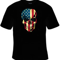 American Flag Skull T-Shirt Men's