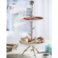 SPI Coral Collection Antique Silver Finish Plate Stand