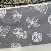 Zip Pouch-Pencil pouch- Cosmetics pouch- made using grey print fabric