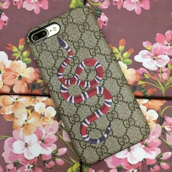 GUCCI Fashion Snake Stripe iPhone Phone Cover Case For iphone 6 6s 6plus 6s-plus 7 7pl