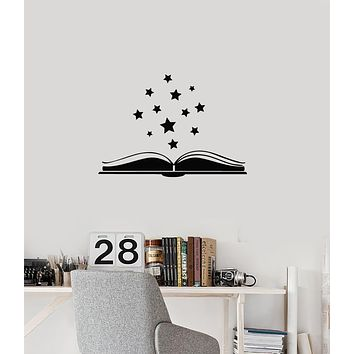 Vinyl Wall Decal Open Book Stars Reading Room Library Interior Art Stickers Mural (ig5954)