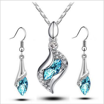 New Limited Wedding 2014 Wholesale Austrya Crystal Jewelry Sets Water Drop Pendants Necklaces Dangle Earring Plated for Women