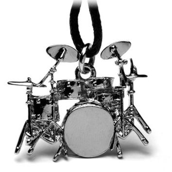 Full Drum Kit Pendant Necklace - Amazingly detailed - great gift for drummers!