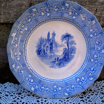 Antique Blue Ironstone Transferware, late 1800's, J. Goodwin Longton, Imported for Albany, NY, English Transferware