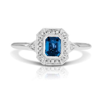 14k White Gold Couture Vintage Inspired Octagon Blue Sapphire & Diamond Ring
