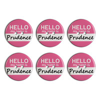 Prudence Hello My Name Is Plastic Resin Button Set of 6
