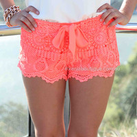 PRE ORDER - ONE FINE DAY LACE SHORTS (Expected Delivery 28th May, 2014) , DRESSES, TOPS, BOTTOMS, JACKETS & JUMPERS, ACCESSORIES, 50% OFF SALE, PRE ORDER, NEW ARRIVALS, PLAYSUIT, COLOUR, GIFT VOUCHER,,SHORTS,Print,LACE,Orange,MINI Australia, Queensland, Br