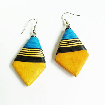 Tribal Earrings, Thread Wrapped Wood Dangle Earrings, Yellow Blue Black, Lightweight, Balsa Wood, Vintage Fashion, Wooden Earrings