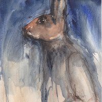 Hare Animal Art Original watercolor painting, Bunnyman Rabbit Fantasy Surreal