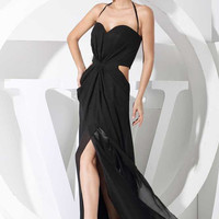 Black sex dress halter cocktail dresses/evening dress/homecoming dress/ chiffon long prom dress custom made