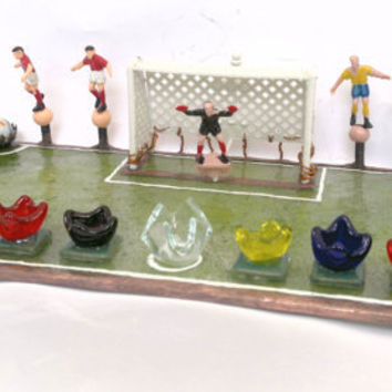 Chanukah Menorah for Soccer Fans handmade by dalit by dalitglass