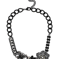 BLACKOUT FLOWER CLUSTER CHAINED NECKLACE