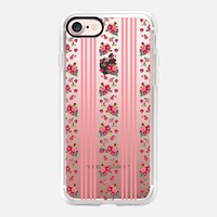 Vintage Floral Stripes - Coral Rose (transparent) iPhone 7 Case by Lisa Argyropoulos | Casetify
