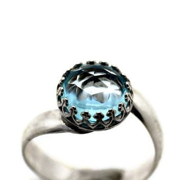 Sky Blue Topaz Ring, Sterling Silver Cocktail Ring, Blue Gemstone Wedding Ring, Wide Silver Band