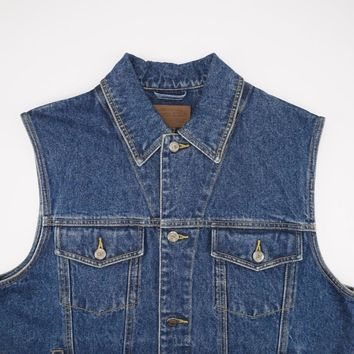 PENDLETON Metal Buttons Indian Blanket Rodeo Bronco Denim Vest Mens M