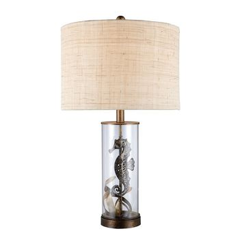 Largo Table Lamp In Bronze And Clear Glass With Natural Linen Shade