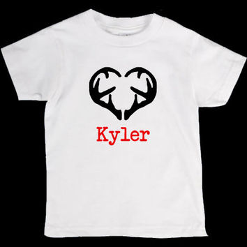 Valentines Day Deer Antler Heart Personalized Onesuit or Kid's T-Shirt - Two Color