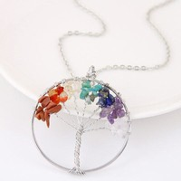 [13300] Amulet Tree of Life Healing Crystal Stone Pendant Necklace