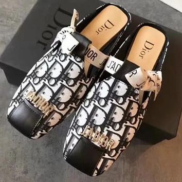 Dior Women Shoes Slippers Letters print Bow Shoes White