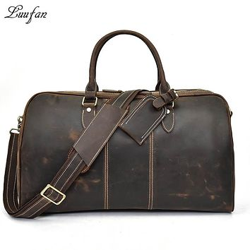 Genuine Leather Men Travel Bag Big Capacity Women Vintage Real Cow Leather Travel Duffel Glossy Cowhide Work Luggage Bags