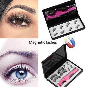 8pc/set Make Up Dual Magnetic False Eyelashes Glue-free Reusable Magnet Fake Eyelashes with Tweezer Extension Makeup Beauty tool
