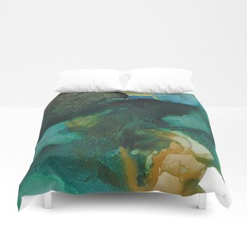 Green and Gold Duvet Cover by duckyb