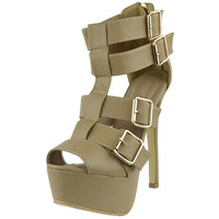 Womens Dress Sandals Strappy Buckle Accents Platform Shoes Taupe SZ