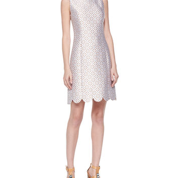 Scallop-Hem Shift Dress, Optic White, Size: 6, OPTC WHITE/SUNTAN - Michael Kors