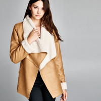 Soft and Cozy, Fold-over Lapel Faux Suede Jacket