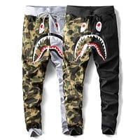 Bape Aape Newest Fashionable Women Men Casual Shark Mouth Print Drawstring Sport Pants Trousers Sweatpants