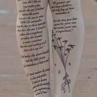 Clothing -The LITTLE PRINCE Tights - size S / M / L / XL  full length tattoo leggings -gray,blue,mustard,beige