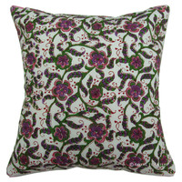White Floral Leaf Hand Block Decorative Toss Pillow Cover