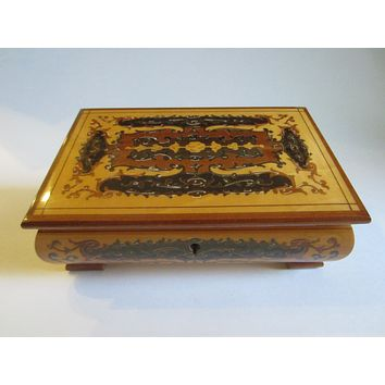 Musical Jewelry Box Hand Inlaid Marquetry Mirrored Lined Footed Pine Wood