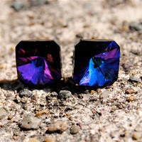 Purple Blue Rainbow Earrings  Super Sparklers Smalls  by MASHUGANA