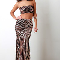 Contrast Mesh Sequined Maxi Skirt