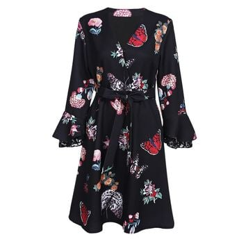V Neck Bell Sleeve Butterfly Print A-line Brooch Women Dress