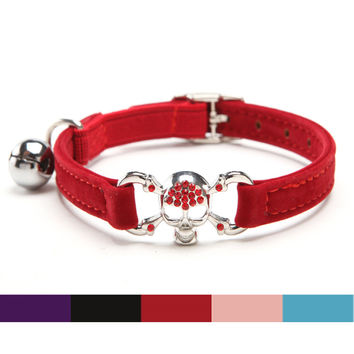Bling Pirate Skull Soft Velvet Collar for Cat