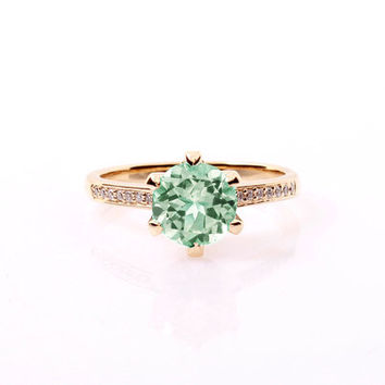 Green Beryl solitaire engagement ring with diamonds, yellow gold ring, beryl engagement, light green ring, unique, rose gold, custom ring
