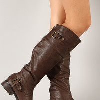 Alma-08 Buckle Round Toe Riding Knee High Boot