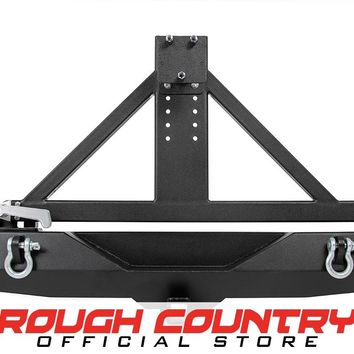 Jeep Wrangler JK Full-Width Rock Crawler Rear Bumper w/ Tire Carrier, Hitch & D-Rings 2007 - 2018