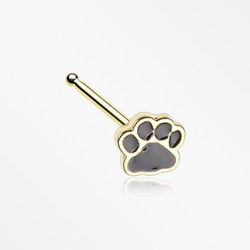 Golden Adorable Paw Print Nose Stud Ring