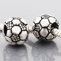 European charm metal bead soccer ball