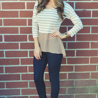 Get On My Level Top: Tan/Ivory | Hope's