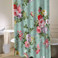 Vintage flower custom shower curtain for bathroom ideas