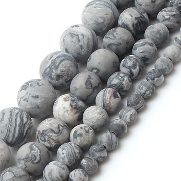Dull Polish Matte Natrual Map Jasper Stone Round Beads For Jewelry Making Bracelet Necklace 4/6/8/10mm 15inches
